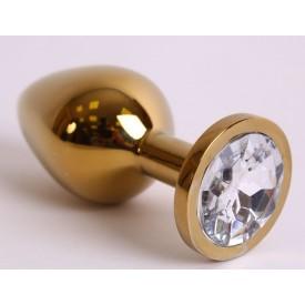 Большая золотистая анальная пробка с прозрачным кристаллом - 9,5 см.